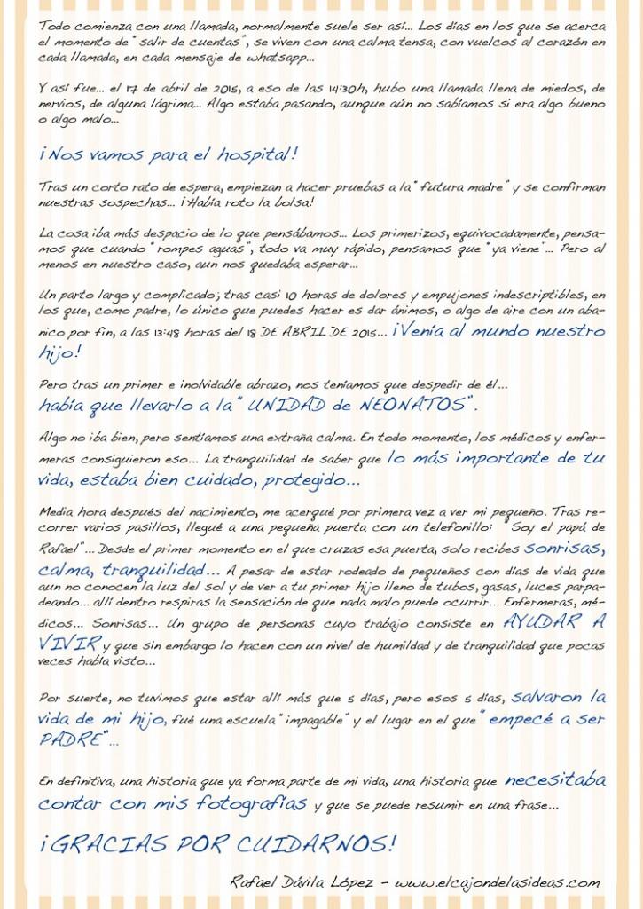 Rafael Dávila. Carta de la exposición de Neonatos