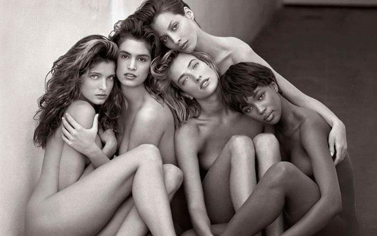 Cindy Crawford, Naomi Campbell, Tatjana Patitz, Christy Turlington y Stephanie Seymour por Herb Ritts