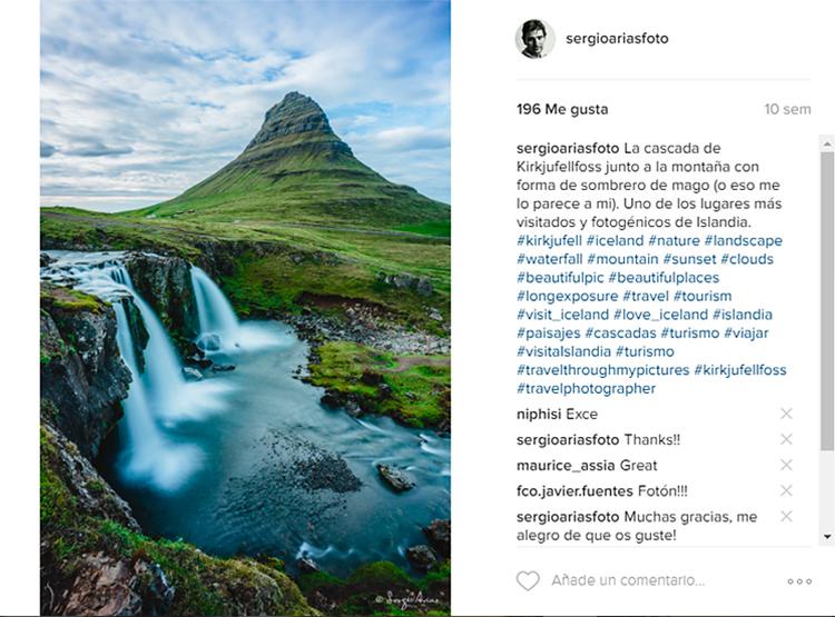 Fotografía de un lago en instagram