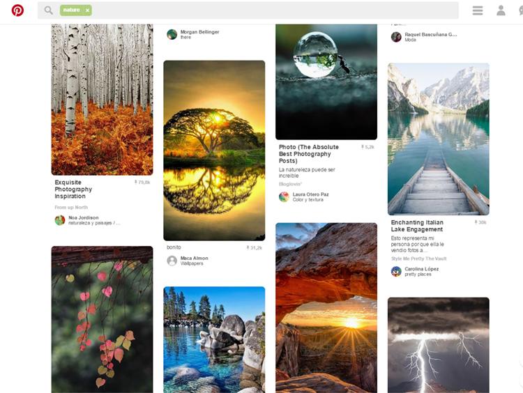 Página de Pinterest con fotos