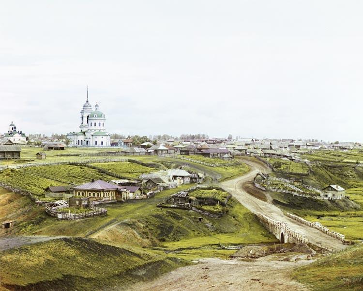 Serguéi Prokudin-Gorski iglesia en un pueblo ruso