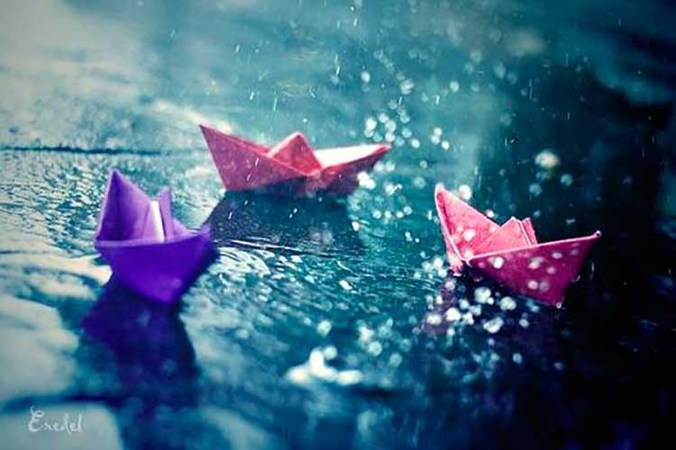 Barcos de papel sobre charco