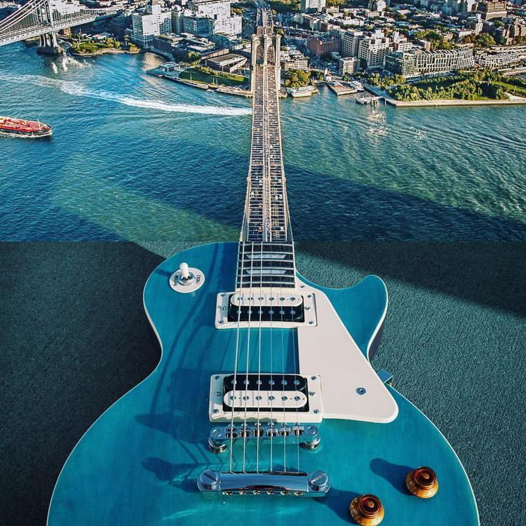 guitarra y ciudad
