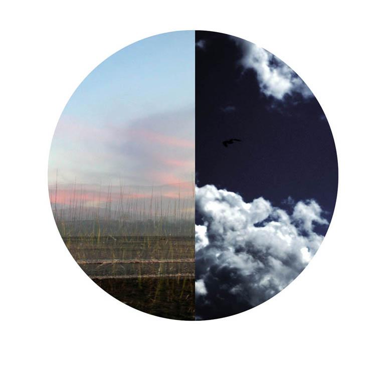 Montaje de dos paisajes dentro de un círculo