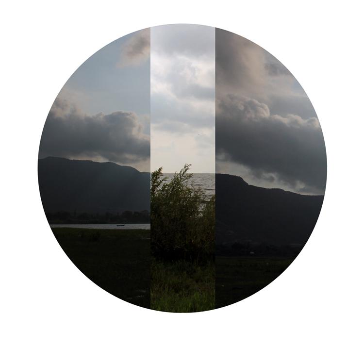 Montaje de paisajes en forma de círculo