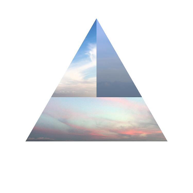 Triangulo con tres paisajes diferentes en su interior