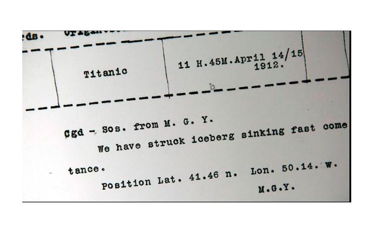 Petición de ayuda enviada desde el Titanic tras colisionar con el iceberg