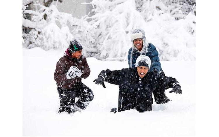 Los Obama en la nieve