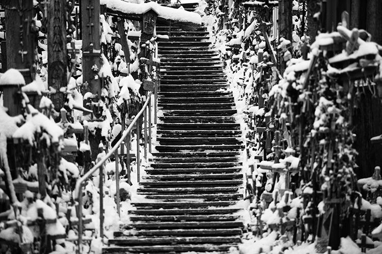 escalera con hielo