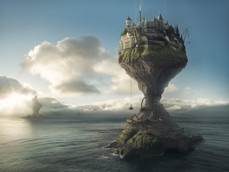 Erik Johansson- Isla en el mar